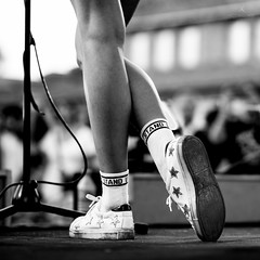 Stand up (hector_cbs) Tags: stand up black white blackandwhite shoes socks legs woman singer posture