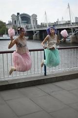 Girls jumping (rich.tee) Tags: model london hungerford bridge southbank candyfloss bubblegum bizarre unexpected