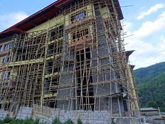 Building (and bamboo scaffolding) in Thimphu, Bhutan (chibeba) Tags: bhutan kingdomofbhutan asia october 2016 autumn vacation holiday thimphu bamboo scaffolding scaffold bambooscaffolding construction