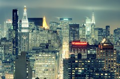 Midtown Manhattan at Night, New York City (andrew c mace) Tags: nyc newyorkcity roof newyork rooftop skyline night cityscape manhattan rockefellercenter midtown chryslerbuilding madisonsquarepark grandcentral unionsquare metlifetower parkavenue metlifebuilding citigroupcenter nikkor70300mm colorefex nikoncapturenx nikond90 onemadisonpark