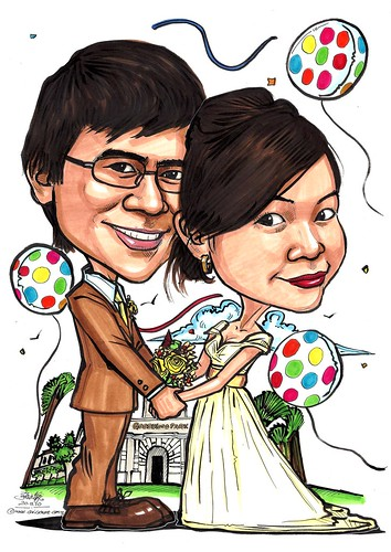 wedding couple caricatures @ Goodwood Park - A3