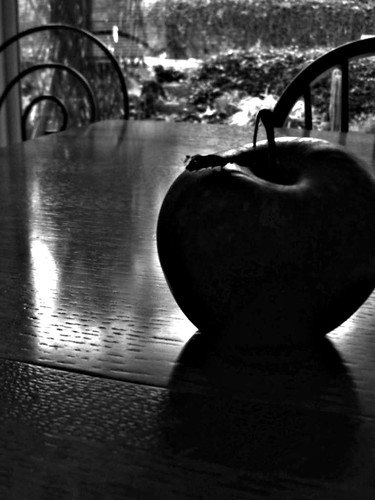 apple on a table