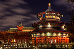 Temple of Heaven - Explored! (bfurbush) Tags: china park longexposure travel family blue light red vacation color tree green colors architecture night canon temple photography lights amusement high orlando epcot nightshot unitedstates florida beijing disney resort explore disneyworld processing imaging orangecounty templeofheaven range ming canonrebelxt hdr highdynamicrange themepark canoneosdigitalrebelxt taoist taoism waltdisney qing 24105 worldshowcase chinapavilion canon24105f4l explored canon24105f4lis 24105f4l brianfurbush bfurbush brianfurbushphotography