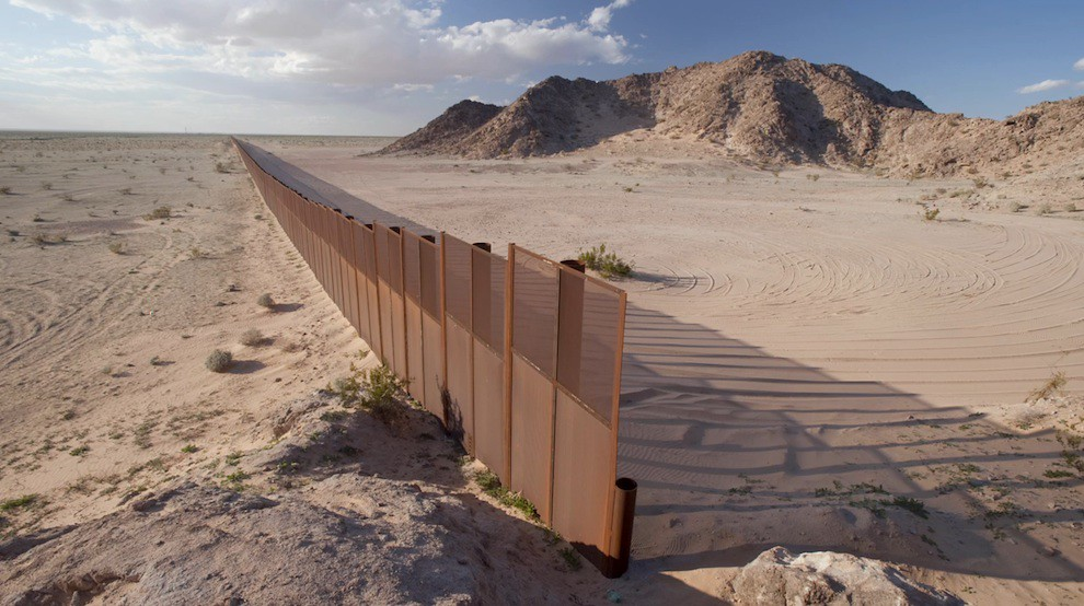 US-Mexico Wall in desert