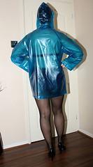 cute short plastic mac (sheerglamour) Tags: leather fetish belt tv mac skirt plastic satin pvc pleated governess