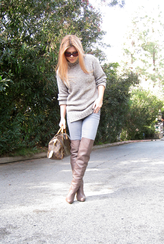 sweater and over the knee boots+taupe otk boots+louis vuitton bag+outfit