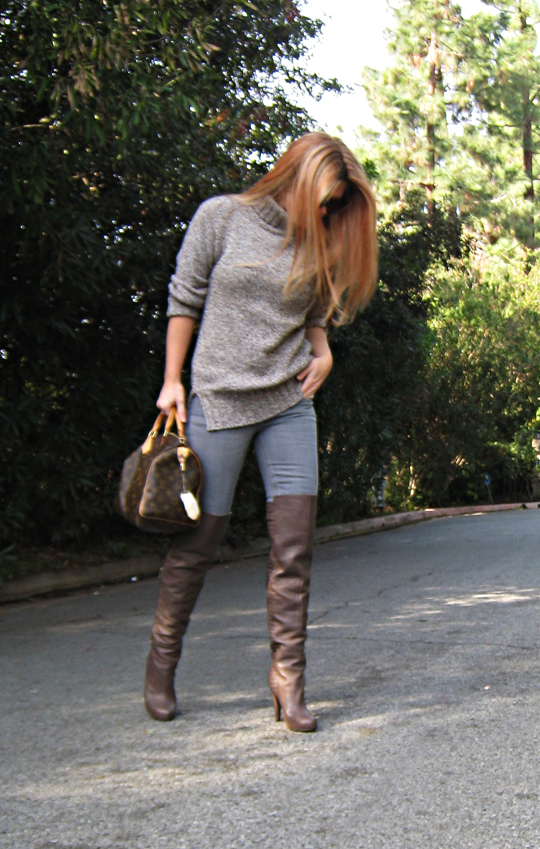 otk boots with jeans and a sweater+red highlights+reddish hair