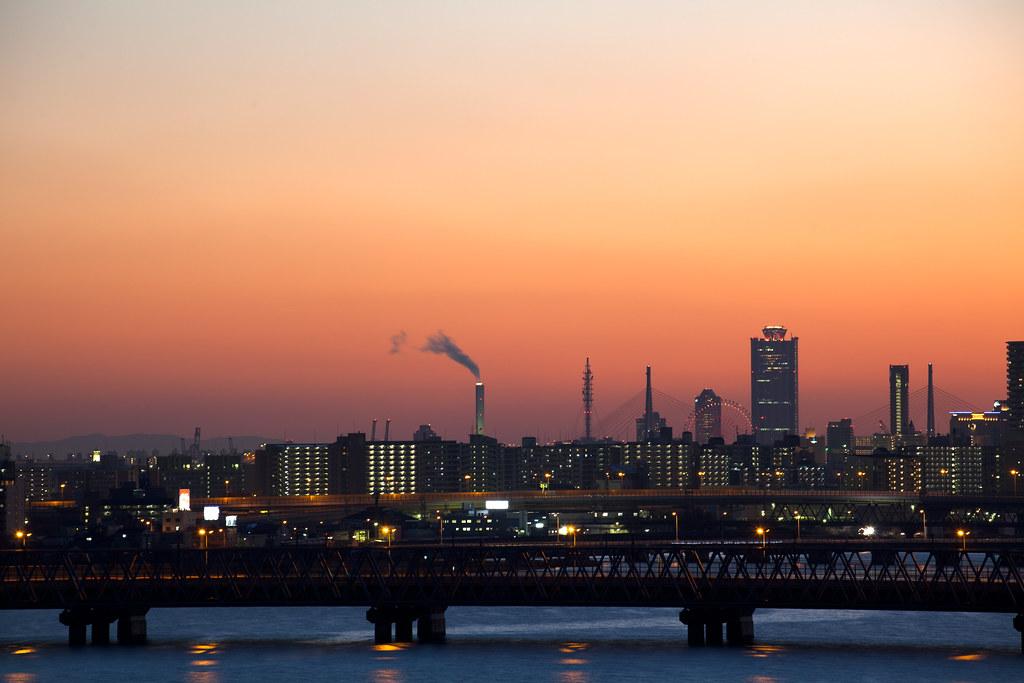 Osaka WTC at sunset