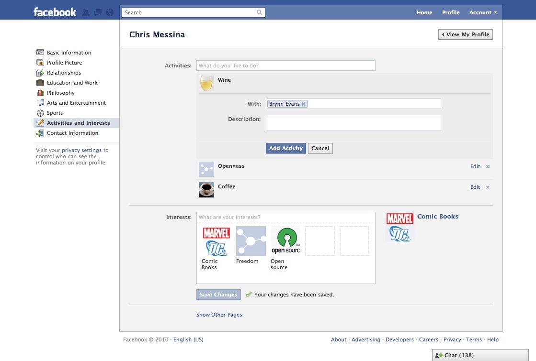 Facebook - Activities