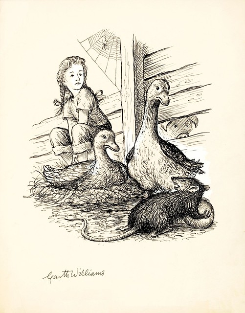 ink sketch of child, ducks and rat on farm