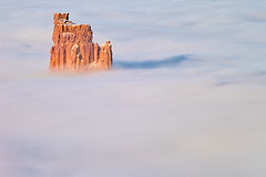Candlestick Tower in Clouds, Utah (bretedge) Tags: winter usa southwest nature weather fog landscape utah seasons desert foggy scenic cliffs canyonlands moab nationalparks fourcorners islandinthesky grandcircle candlesticktower