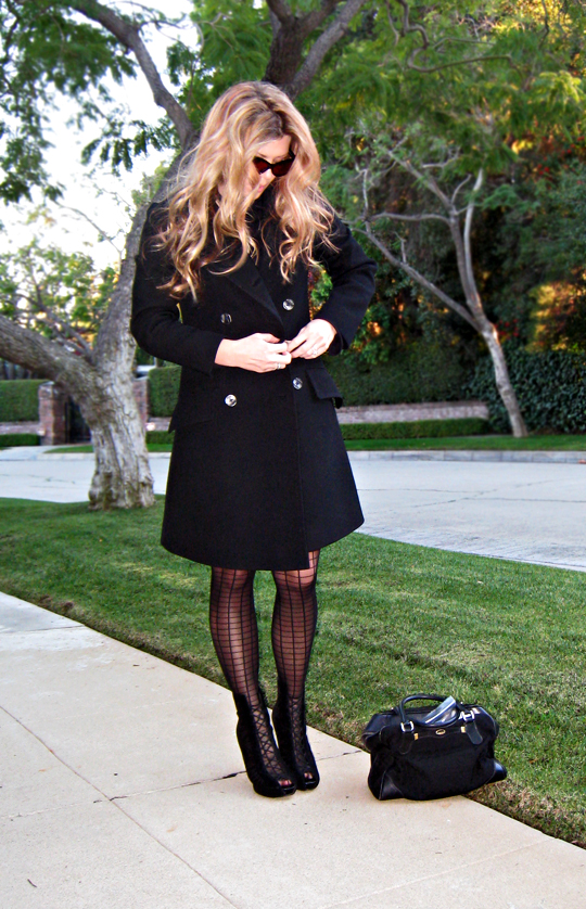 winter coat and grid stockings and ankle boots-original sharp