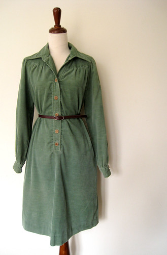 Spanish Moss Green Corduroy Dress, Vintage 70's