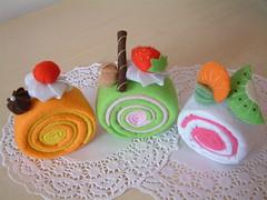 felt cake pattern-roll cake
