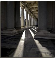 Daily projection - h. 11 a.m. : the light (Nespyxel) Tags: light rome roma lines backlight shadows pov columns perspective ombre projection luce controluce colonne prospettiva geometrie linee proiezione geometries sanpaolofuori