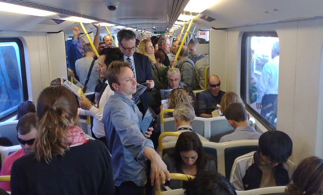 Crowded train, Frankston line (due to delays)