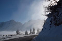 Sun above the fog in the valley ~ (rotraud_71 away again ~) Tags: street trees sun mountains fog germany bavaria shadows berchtesgadenerland hohergll bestofmywinners rosfeldringstrase