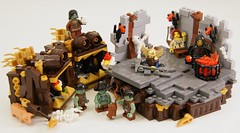 Dungeon (Bart De Dobbelaer) Tags: castle skeleton lego dwarf shakespeare dungeon fantasy vignette macbeth minion witchsquest