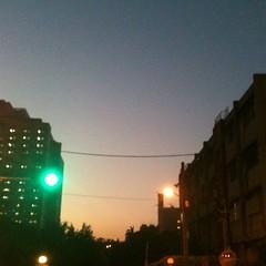 Street light in the twilight