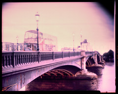 Bridge Over River Thames (*junket*) Tags: uk london xpro crossprocessed crossprocess shift 4x5 tilt battersea largeformat graflex speedgraphic 5x4 tessar 5058 sheetfilm pacemakerspeedgraphic kodakektachromeepn100 carlzeissjenatessar165mmf27 165mmf27 tiltedshifted