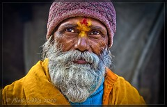 Holy Man (NeilsPhotography) Tags: travel nepal portrait man color colour slr yellow wow beard interestingness amazing interesting eyes asia religion great kind explore hindu tika 2010 holyman outstanding lr3 chatra npl 550d cs5 flickraward canon550d neilliddle landseavision liddlephotography