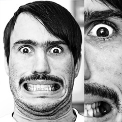 portrait georg 03 (Andres Franz Gessl) Tags: portrait blackandwhite bw male eye face composition square emotion expression teeth extreme split catchlight