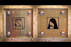 Signs reveal a lot about a society (modenadude) Tags: woman man up sign scarf photoshop emblem logo outside bathroom clothing dubai close head uae hijab together letterbox society unitedarabemirates put burj garb alarab emirati