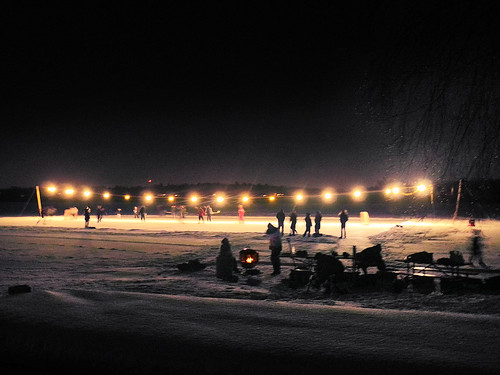 Holiday Lights and Night Hockey  on Lake Wingra