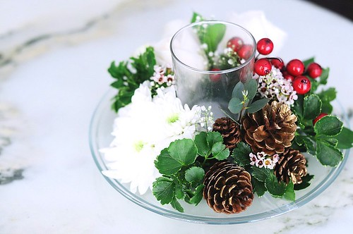 Christmas Wedding Table Flower Arrangment