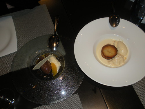 Left-chocolate cream with orange, muscatel, and olive oil sherbert, right-white chocolate and coriander coulant with malt ice cream and biscuit foam