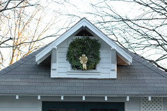 Christmas wreath on shed dormer window (kizilod2) Tags: christmas window wreath evergreen pinecone dormer