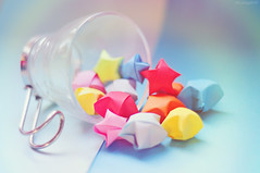 Policromía de complicidades (Lunayda) Tags: holiday cup glass paper stars origami colours gift present splash