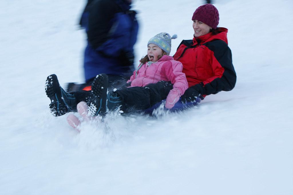 Ava and Rachel, sledding
