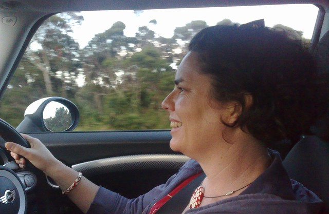 Marita driving the Mini