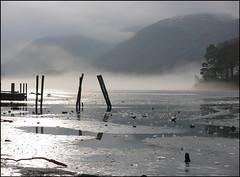 Frozen Derwentwater (elaineh601) Tags: mist lake cold ice water frozen district lakedistrict freezing freeze cumbria derwentwater posts lakeland keswick