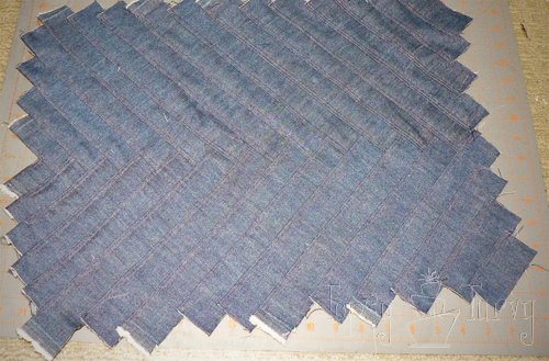 denim herringbone pillow top
