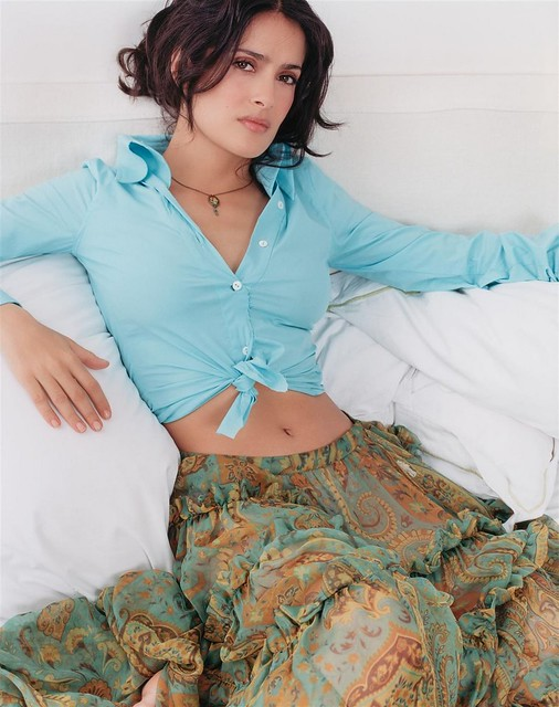 salma hayek tied shirt by mustifive