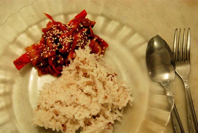 homemade kimchi with rice