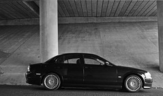 Jaguar S-Type XS (Reayworld) Tags: bridge blackandwhite black cars car nikon spokes wheels jag british jaguar xs pillars saloon alloys bodykit stype spoked 18inch reayworld stypexs sytpe