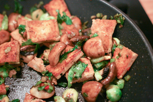 Tofu and Brussels Sprouts Stir Fry