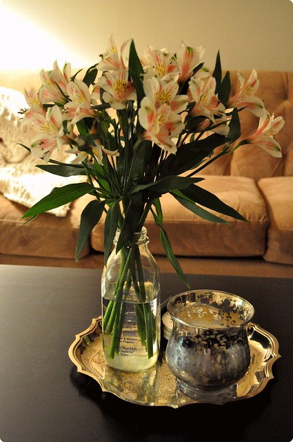 Flowers on our coffee table