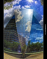 Trapped in a mirror (iPh4n70M) Tags: africa blue sky sun reflection building clouds photography glasses mirror soleil photo nikon photographer photographie geometry south du fisheye bleu reflet ciel photograph tc symetry nikkor miroir nuages 16mm gomtrie hdr johannesburg sud immeuble vitres afrique photographe symtrie 9xp d700 9raw tcphotography ph4n70m iph4n70m tcphotographie