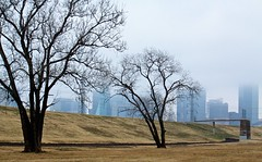 IMG_1996 (swarnendu) Tags: city trees usa cloud white black rain fog canon project river landscape photography eos dallas day cityscape texas trail rainy trinity distance sen levee 50d swarnendu