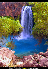A Trek to the Havasupai Nation Reservation (Sam Antonio Photography) Tags: arizona southwest color green nature water landscape waterfall outdoor hiking grandcanyon falls havasu supai havasupai mooneyfalls canonpowershotg1 slowshutterspeed americansouthwest travelphotography havasufalls navajofalls arizonalandscape bluewaterfall southwestphotography samantoniophotography havasupaiwaterfall