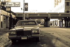 January (Flint Foto Factory) Tags: city winter urban bw chicago sign sepia train sedan underpass grey illinois gm cta granville winthrop lounge north banner gray broadway platform january overpass dirty cadillac stop chrome american l bleak 1991 1992 grille pizzeria redline luxury edgewater 1990 fleetwood fullsize seasonsgreetings chicagotransitauthority generalmotors brougham 2011 4door ginosnorth worldcars