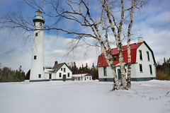 """Winters Peace""  New Presque Isle Lighthouse - Presque Isle, Michigan (Michigan Nut) Tags: winter red usa lighthouse snow green clouds geotagged photography peaceful nautical lakehuron birchtree michiganlighthouses newpresqueislelighthouse puremichigan presqueislemichigan michigannut"