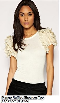 Mango | Mango Ruffled Shoulder Top at ASOS-1