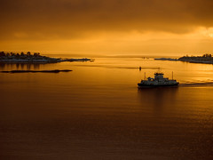 **Golden sunset** (**klaracolor**) Tags: winter sunset sea sky cloud snow oslo norway ferry clouds landscape boat fjord goldensunset oslofjord goldensky perfectsunsetssunrisesandskys klaracolor