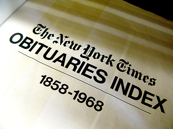 New York Times Obituaries 1858-1968 New York Public Library