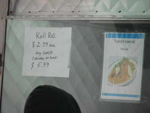 Kati roll and biryani signs